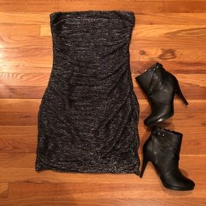 EXPRESS ROUCHED SHIMMER BODYCON DRESS